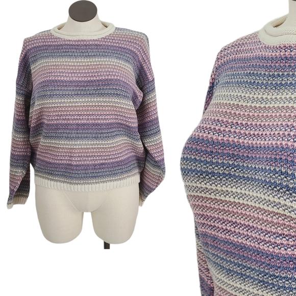 80-90s Vintage L Pastel Striped Crewneck Sweater